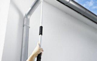 High level jet spray gutter cleaning