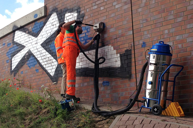 Graffiti removal in action